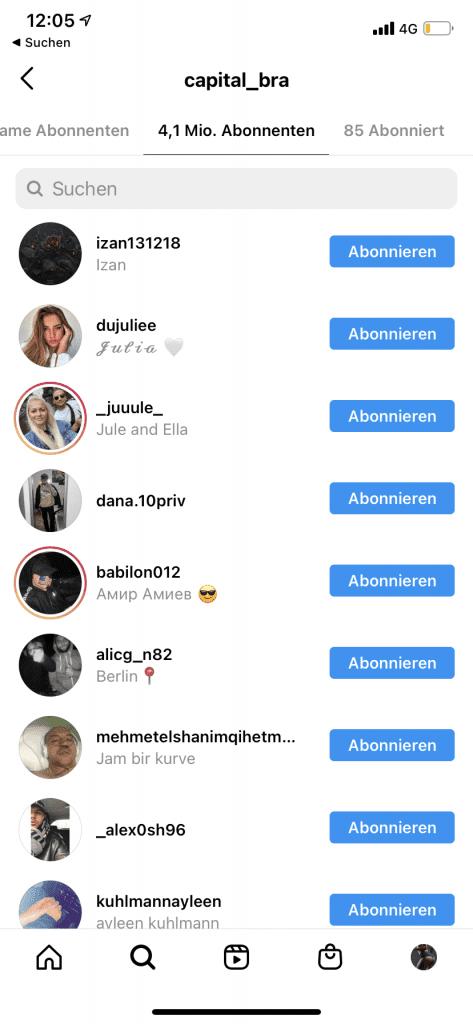 Abonnenten eines Instagram-Profils anzeigen lassen