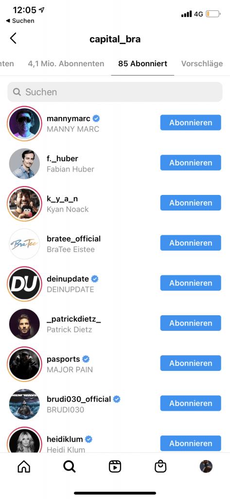 Auf Instagram sehen wen andere abonniert haben