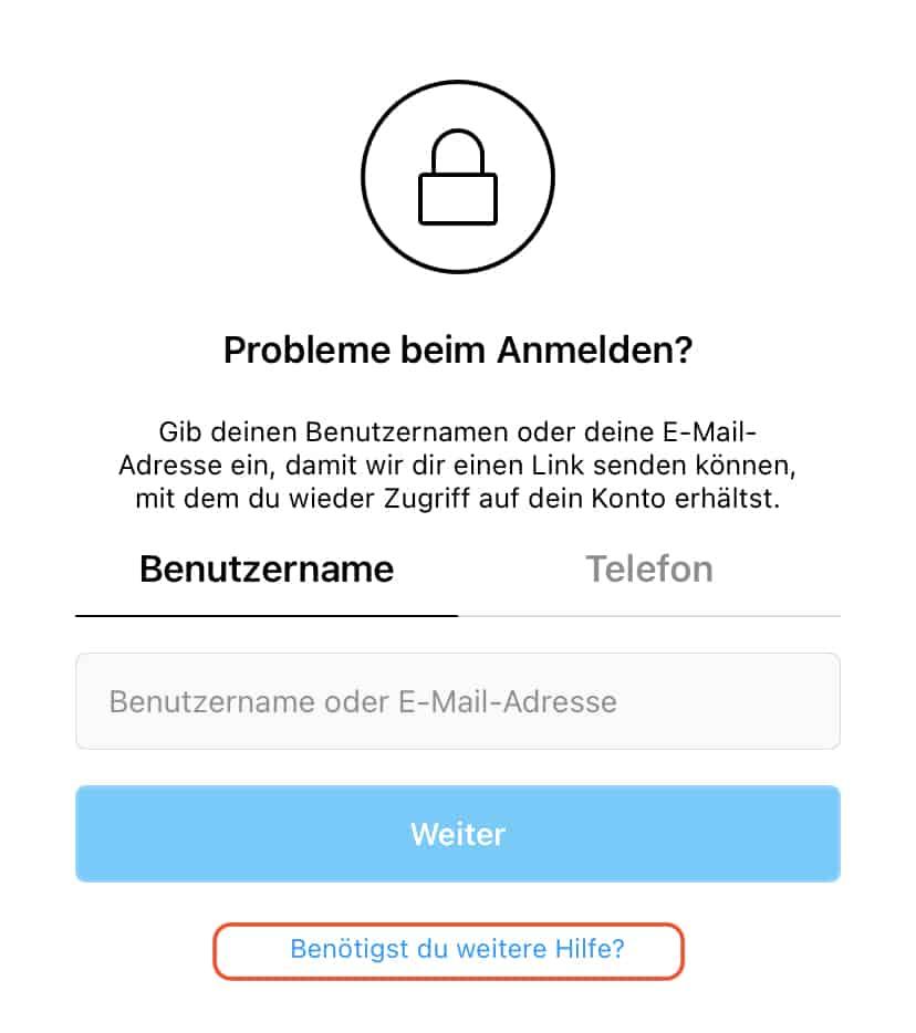 Support Instagram anmelden geht nicht
