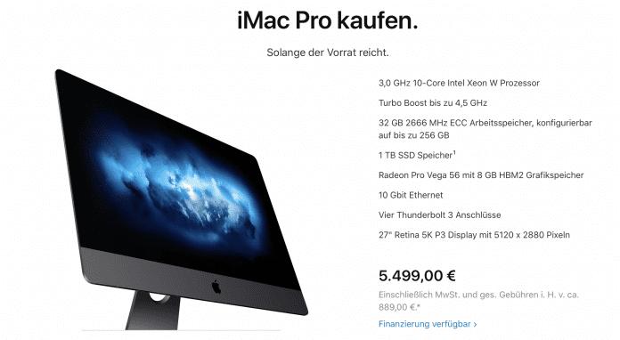 Ist das iMac Pro kurz vor der Überarbeitung? Auf der Apple Hompage ist er nicht mehr konfigurierbar.