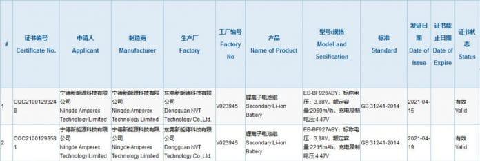 3C-Zertifizierung Galaxy Z Fold 3