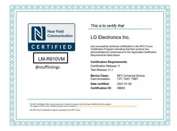 LG NFC-Zertifizierung Rollable-Smartphone
